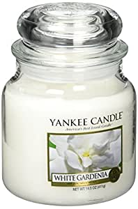 Yankee candle 1230626 White Gardenia Candele in giara piccola, Vetro, Bianco, 6.4x6.2x8.6 cm
