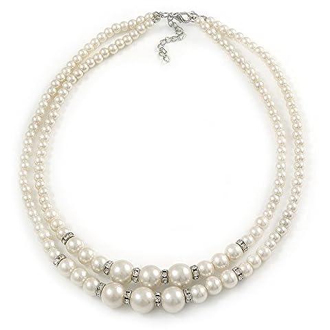 Zwei Zeile weiß simulierten Glas Perlen mit Kristall Ringe Halskette–50cm L/3cm EXT