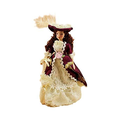 PC 1 Porcelana linda muñeca Victoria 1:12 casa de muñecas de cerámica Mini Muebles Decoración muñeca del juguete de la vendimia para el hogar