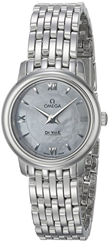 OMEGA WOMEN'S 24MM STEEL BRACELET & CASE QUARTZ MOP DIAL WATCH 42410246005001
