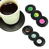 Yistu Cup Mat, 6Pcs/Set Spinning Retro Vinyl Record Drinks Coasters / Vinyl Coaster Cup Mat