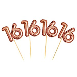 Neviti 774342 Glitz & Glamour - Palillos de comida para cumpleaños (16 unidades, 2,5 x 0,2 x 8 cm), color rosa