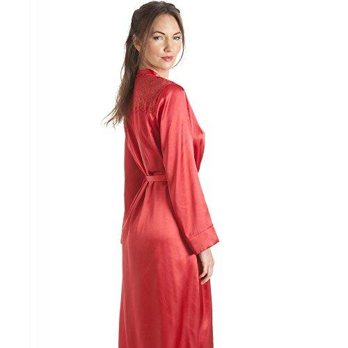 7f2551d6879 Camille Robe de chambre de luxe en satin femme rouge Rouge Gros ...