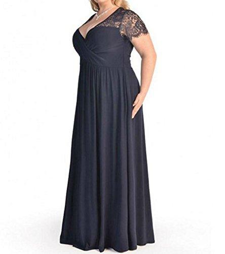 D-Pink Damen V-Ausschnitt Halbarm Lange Abendkleid Übergröße Spitze Brautjungfer Hochzeitskleid Marineblau