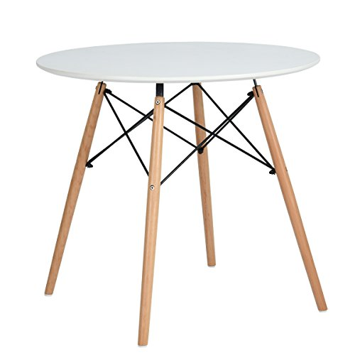 H.J WeDoo Tavolino Cucina Rotondo, Tavolo da Pranzo Design Moderno Tavolino da Salotto Gambe in Legno, Bianco 80 x 80 x 75 cm