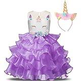NNJXD Mädchen Einhorn Cosplay Fancy Kostüm Party Hochzeit Prinzessin Kleider + Kopfbedeckung Größe (140) 6-7 Jahre Lila