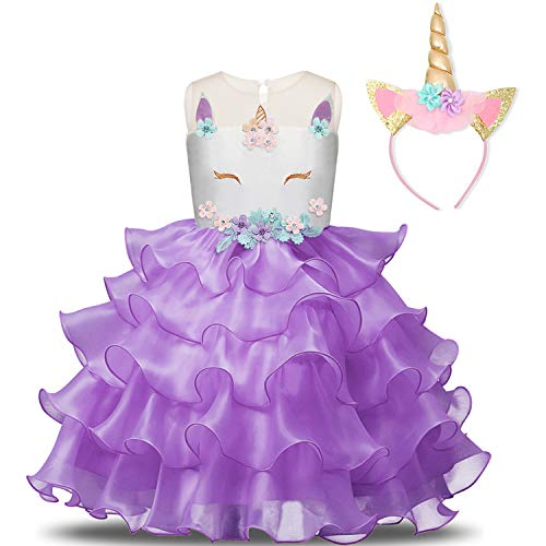 NNJXD Fille Licorne Cosplay Fantaisie Costume Fête De Mariage Robes Robes + Chapeaux Taille (100) 2-3 Ans Violet