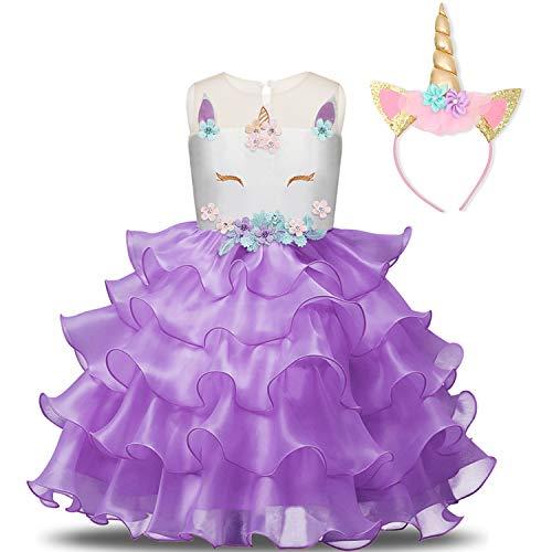 NNJXD Mädchen Einhorn Cosplay Fancy Kostüm Party Hochzeit Prinzessin Kleider + Kopfbedeckung Größe (120) 4-5 Jahre Lila (Fancy Dress Kostüm Zubehör)