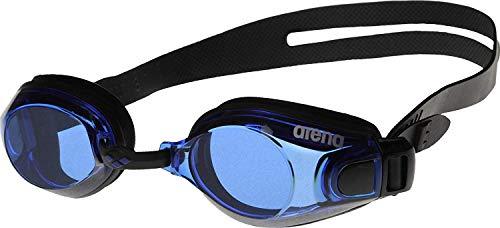 arena Unisex Training Freizeit Schwimmbrille Zoom X-Fit (UV-Schutz, Anti-Fog Beschichtung, Harte Gläser), Black-Blue-Black (57), One Size