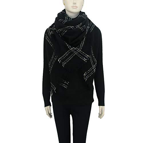 Qpw Lady Schal, Schwarze Streifen-Schal, Winter, Verdickung, Schal 140 * 140cm