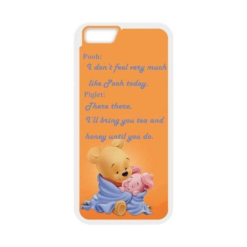 Winnie the Pooh PC and Étui en silicone TPU Coque iPhone 6Coque avec Screen Protector (White/Black)