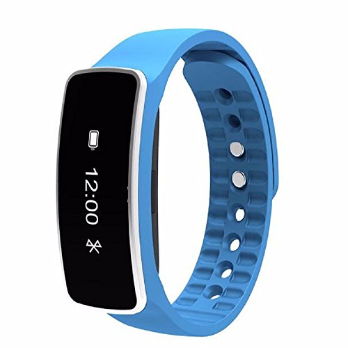 Sports Bracelet, Rcool Bluetooth Smart Wristband Sleep Sports Fitness Health Monitor Activity Tracker Step Pedometer Walking Calorie Counter Smart Watch Bracelet Compatible with iPhone iOS and Android Phone (Blue)