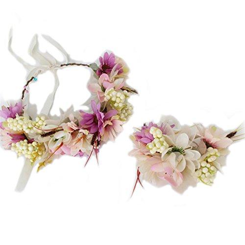 YAZILIND guirnalda floral tocado nupcial diadema flor pulsera guirnalda para bodas festivales turismo beige