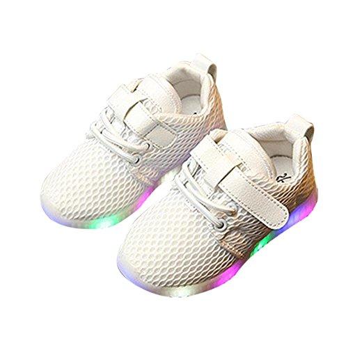 Kobay LED leuchtende Schuhe Herbst Kleinkind Sport Running Baby Schuhe Jungen Mädchen LED leuchtende Schuhe Sneakers (22/1.5Jahr alt, Weiß-2)