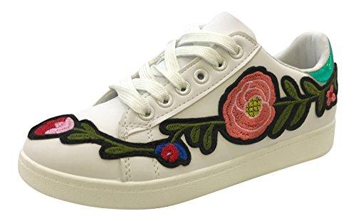 Baskets Fleurs Blanc tendance Vert