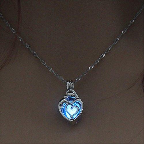 Yinew Damen Halskette Herz Grenzüberschreitende Leuchtende Kornhalskette Mehrfarbenhohlherzanhänge -