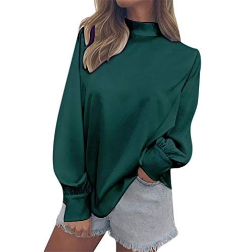 SEWORLD Fashion Womens Chiffon Solid T-Shirt Office Ladies Lantern Sleeve Blouse Tops