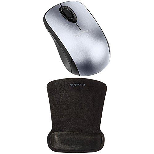 Amazonbasics - mouse wireless con microricevitore e tappetino con poggiapolsi, argento