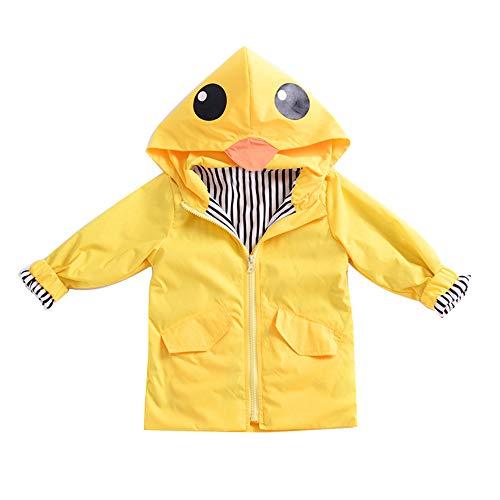 Kids Soft Jacket Neonato Outwear Kinder Frühling Herbst Mac Windjacke Outwear Lange Outwear im Freien 120 cm 100cm gelb ()