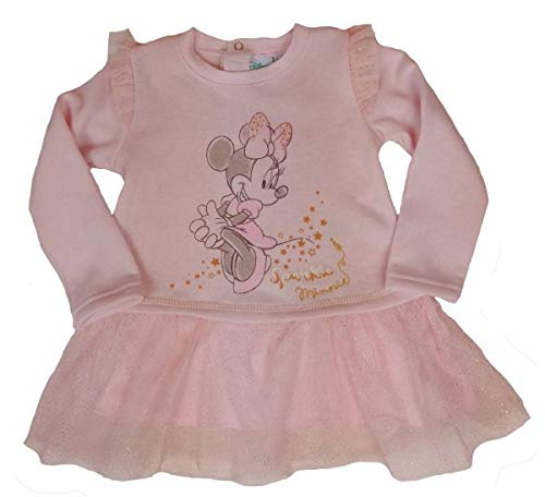 (Disney Minnie Mouse Baby Langarm Kleid mit Tüllrüsche Gr. 74,80,86,92 Größe 86)