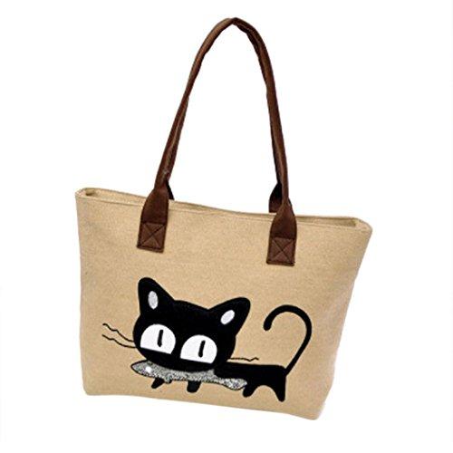 LuckES Moda Mujer Bolsa de hombro Lindo bolso de gato Bolsa de lona Oficina Bolsa del almuerzo Mujeres Large School Bag Bolsos totes Shopping Bag Canvas Bag Color puro Carteras de mano (A)