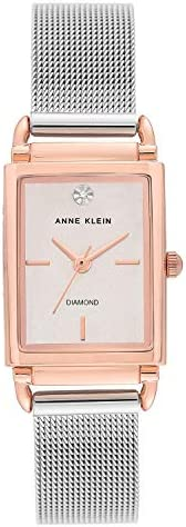 Anne Klein Womens Quartz Watch, Analog Display and Stainless Steel Strap AK-3037SVRT