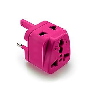 Pins-up! Universal Weltreiseadapter für 190 Länder, Reiseadapter/Reisestecker/Steckdosenadapter/World Travel Adapter (Nordamerika, Südamerika, Asien, Afrika, Europa, Australien) - Pink