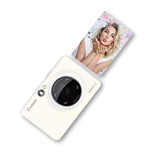 Canon Zoemini S digitale 8 MP Sofortbildkamera und Mini-Fotodrucker (Sucher, Ringblitz/ LED-Blitz, Micro-SD Kartenslot, Canon Mini Print App, ZINK-Druck tintenfrei), pearl white