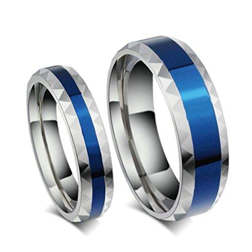 Edelstahlring Paare Herren Ringe Blau Silber Streifen Two-tone Klassische Eheringe Größe 65 (20.7) - Adisaer (Paare Top Kostüme 20)