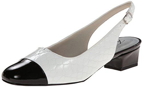 Trotters Dea Breit Leder Pumps Schuhe White/Black
