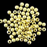 Cuentas Abalorios,Beads DIY Perlas de Plata Latón Chapado como Regalo para Niños Niñas Pulsera DIY Maciendo Kit 4mm 50PCS