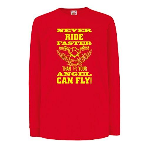 lepni.me Bambini t-Shirt con Maniche Lunghe Abbigliamento Moto (14-15 Years Rosso