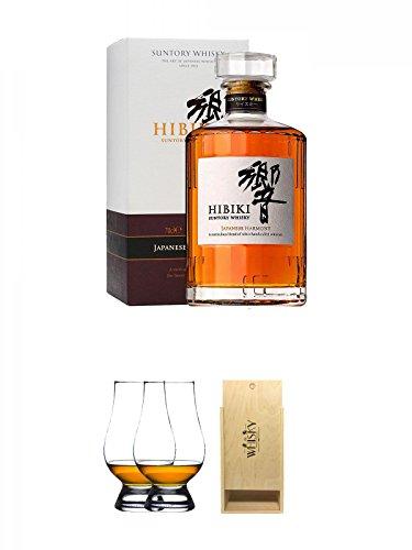 Suntory Hibiki Harmony aus Japan 0,7 Liter + The Glencairn Glass Whisky Glas Stölzle 2 Stück + 1a Whisky Holzbox für 2 Flaschen mit Schiebedeckel