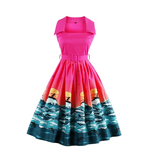 E-Girl M1388 Damen 50er Retro Cocktail Rockabilly Kleid Rose
