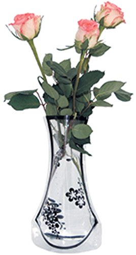 10 x Vase faltbare Blumenvase aus Folie Faltvase farblos/klar mit Muster