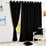 Story@Home Blackout Faux Silk Superior 4 Piece Plain Solid Door Curtains, 7 feet, Black