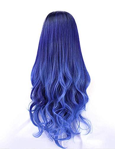 65cm qualitativ hochwertige Cosplay Perücke Für Frauen Lang Voll Lockig Wllig Heiz resistent Fashion Glamourös Haarteil mit kostenlosen Perücke Kappe & Perücke Kamm (65cm, Blau) -