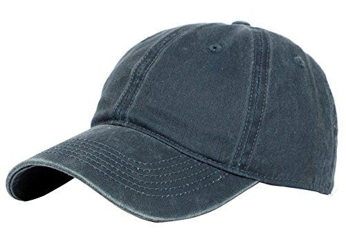 Gorra de béisbol Drawihi para niños y niñas, de sarga y algodón, ajustable, azul marino