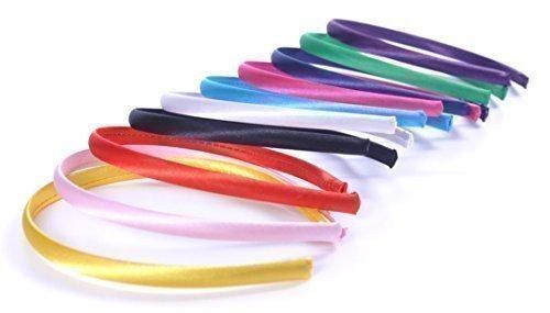 Style Nuvo - 10er Set Satin Haarbänder Einfarbig Verschiedene Farben