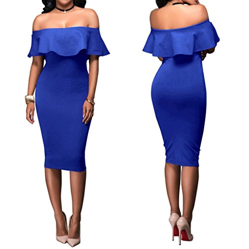 Malloom® Fashion Women Off Shoulder Short Sleeve Bodycon Evening Party Dress (blau, XL)