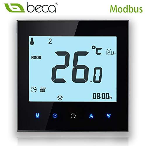 BECA 1000 Serie 3 / 16A LCD Touchscreen Wasser / Elektro / Boiler Heizung Intelligente Programmierung Steuerung Thermostat mit MODBUS oder RS485 (Elektroheizung, Schwarz)