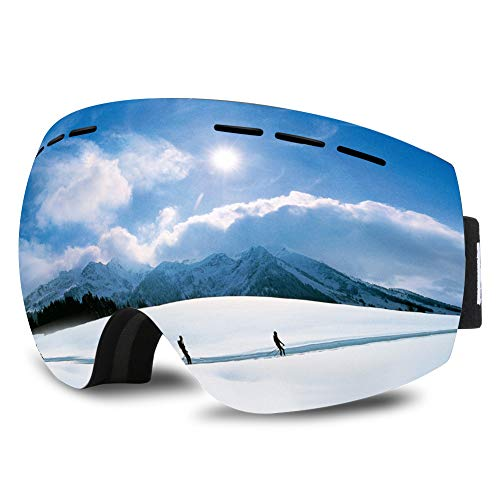 Hauea maschera da sci occhiali da sci con protezione uv400 intercambiabile sferica e doppia lente antiappannamento per uomo e donna, ragazzo e ragazza, argento