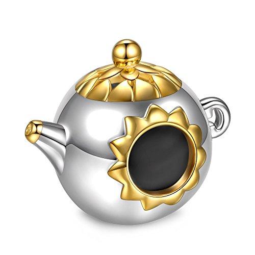 NINAQUEEN Pandora Charms angepasste Charm Geschenke für Frauen Teekanne Silber 925 Zirkonia Emaille Schmuck Damen mit Schmuckkästchen Damen Geschenke für Mama✿