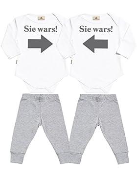 SR - Sie wars! Sie wars! Baby Zwillinge Set Baby Strampler & Schwarz Baby Jerseyhose - Baby Zwillinge Body & Baby...