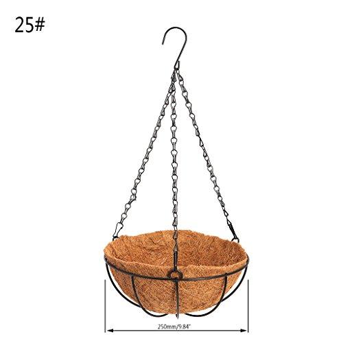 Senoow Hängenden Kokos Gemüse Blumentopf Korb Liner Pflanzer Garten Home Decor Eisen Kunst (2# 25x10x45cm)