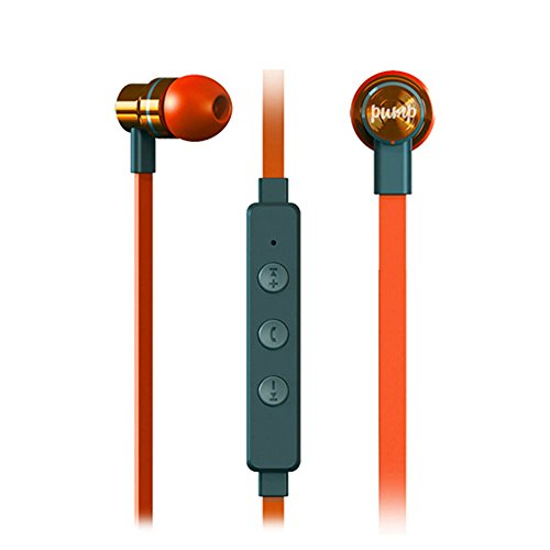 Pump Audio Mix, Bluetooth Wireless In Ear Earphones with High Quality Bass, Memory Foam Earbuds, Inear Wireless Headphones With Mic With Case - Orange