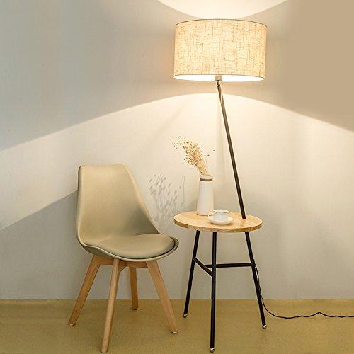 Stehleuchte Wohnzimmer kreative einfache moderne Couchtisch Lichter Nordic Massivholz Schlafzimmer Boden Schreibtisch Lampe ( Farbe : Flax+wood color )