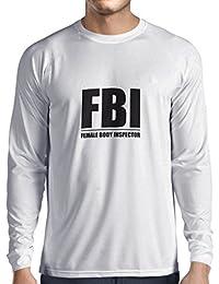 618cb1b0ff14 Langarm Herren t Shirts FBI - Weiblicher Körper Inspektor - lustige  Geschenke für Männer, Humorvolle