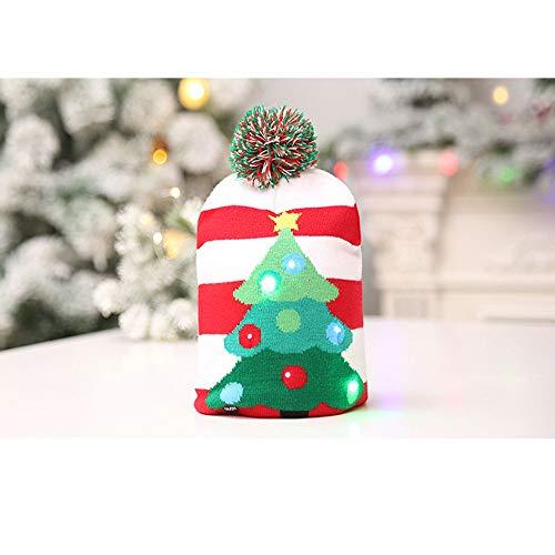 HAPPYXMAS Haobei Weihnachtsdekoration Gestrickte LED Licht Kappe Weihnachtsbaum Schneemann Erwachsenen Kind Hut Außenhandel Heißer Verkauf Beleuchtete Gestrickte Weihnachten Hut Weihnachtsbaum, beleuchtete Stricken