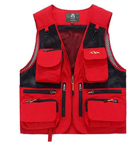 HEFEI Herrenweste, Outdoor-Multi-Pocket-Weste Mesh-Weste Outdoor-Multi-Pocket-Weste Direktor Weste XIAOXIAO (Farbe : Groß Rot, Größe : ()